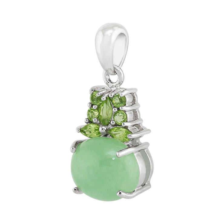 Classic Cabochon Green Jade & Peridot Cluster Pendant in 925 Sterling Silver