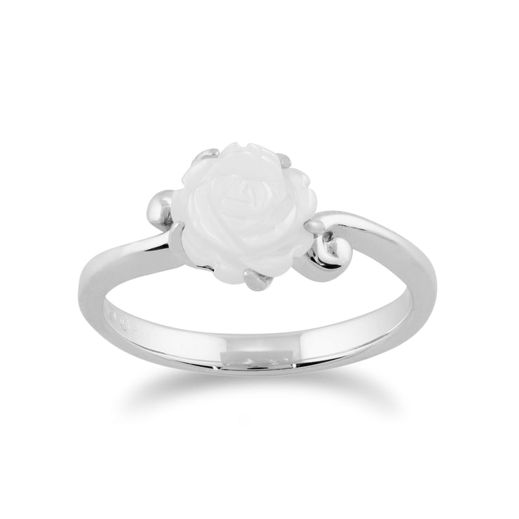 Floral Carved Mother of Pearl Rose Ring in 925 Sterling Silver