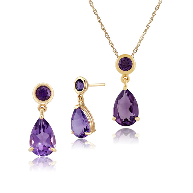 Classic Pear & Round Amethyst Drop Earrings & Pendant Set in 9ct Yellow Gold