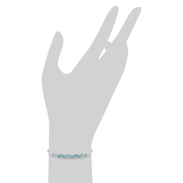 Classic Marquise Topaz & Opal Bangle in 925 Sterling Silver