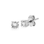 Essential Round White Topaz Claw Set Stud Earrings in 925 Sterling Silver