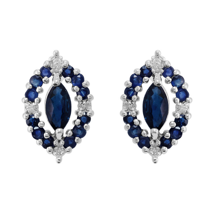 Classic Marquise Sapphire & Diamond Cluster Stud Earrings in 925 Sterling Silver