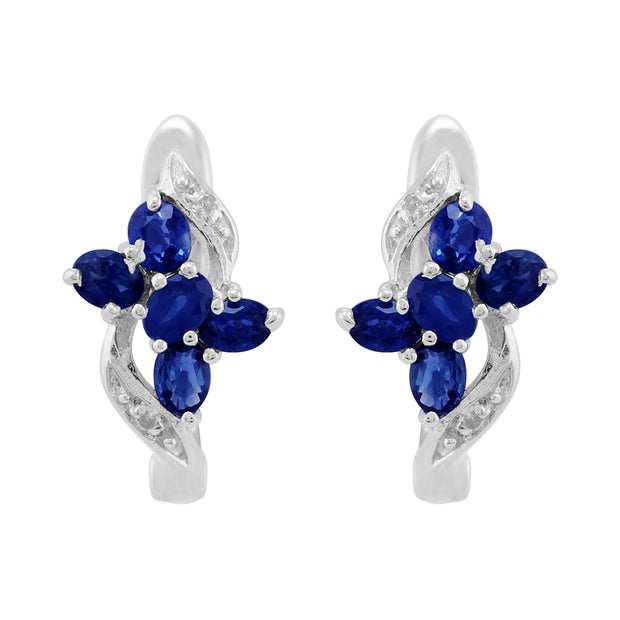 Classic Oval Sapphire & Diamond Butterfly Hoop Earrings in 9ct Yellow Gold