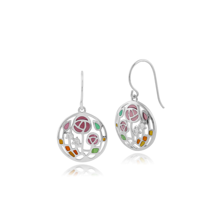 Rennie Mackintosh Round Topaz Rose Drop Earrings in 925 Sterling Silver