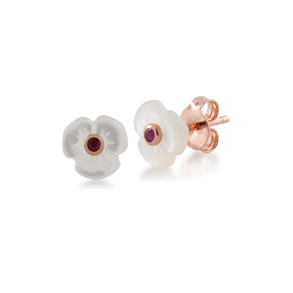 Floral Round Ruby & Mother of Pearl Daisy Stud Earrings & Bracelet Set in Rose Gold Plated 925 Sterling Silver