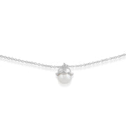 Floral Pearl Lily Single Stone Bracelet in 925 Sterling Silver