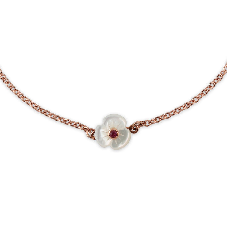 Floral Round Ruby & Mother of Pearl Poppy Bracelet & Ring Set in Rose Gold Plated 925 Sterling Silver