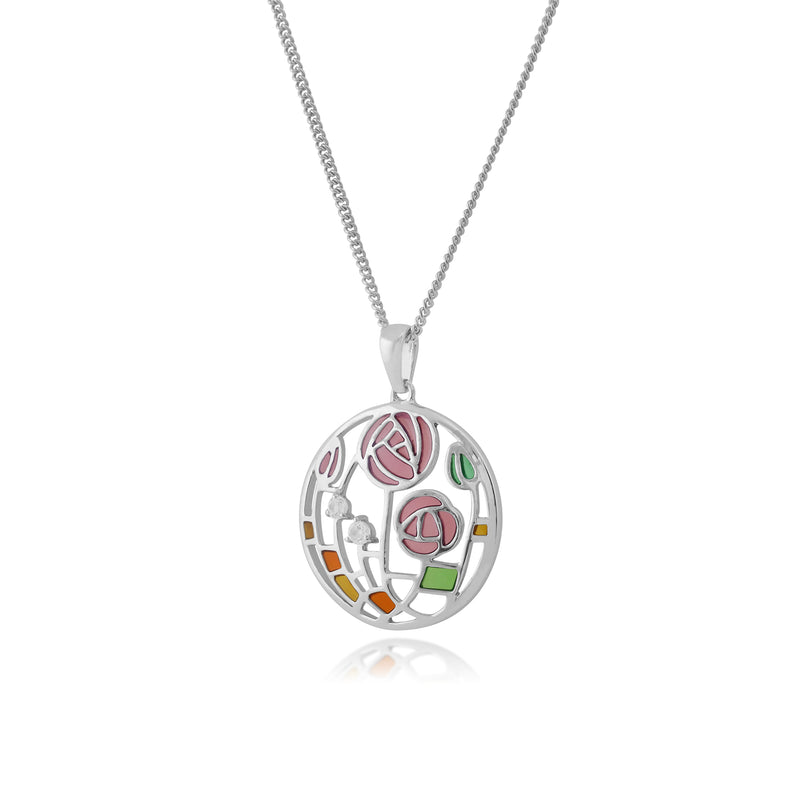 Rennie Mackintosh Round Topaz Rose Circle Pendant in 925 Sterling Silver