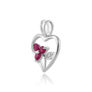 Floral Round Ruby Pendant in 925 Sterling Silver