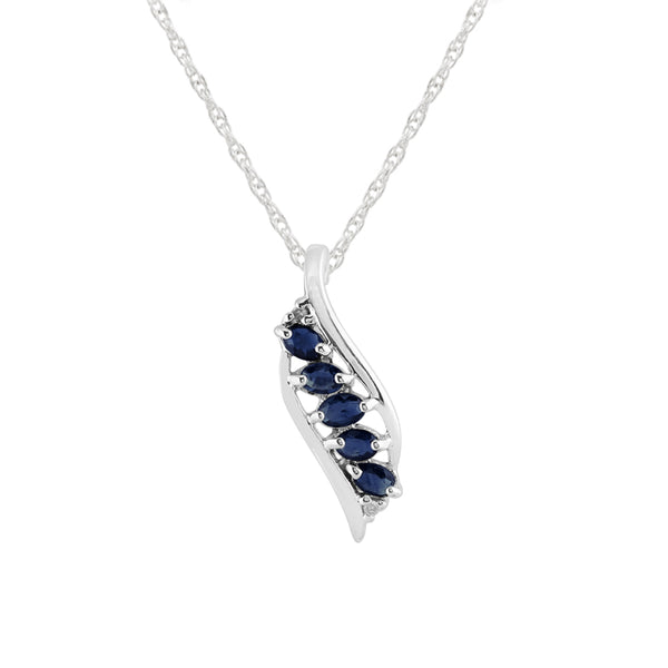 Modern Oval Sapphire & Diamond Leaf Pendant in 925 Sterling Silver