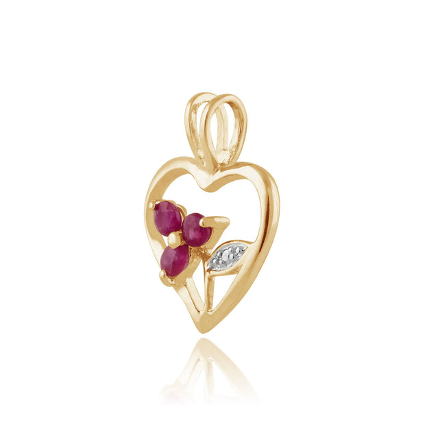 Floral Round Ruby Pendant in Gold Plated 925 Sterling Silver