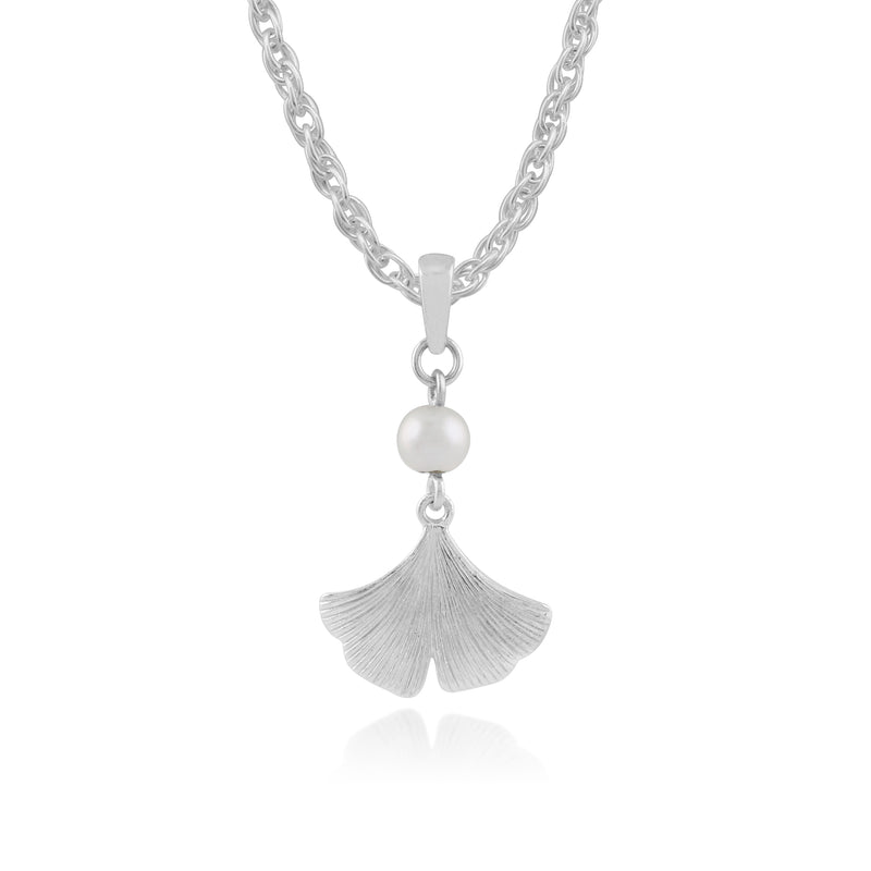 Floral Pearl Gingko Leaf Pendant in 925 Sterling Silver