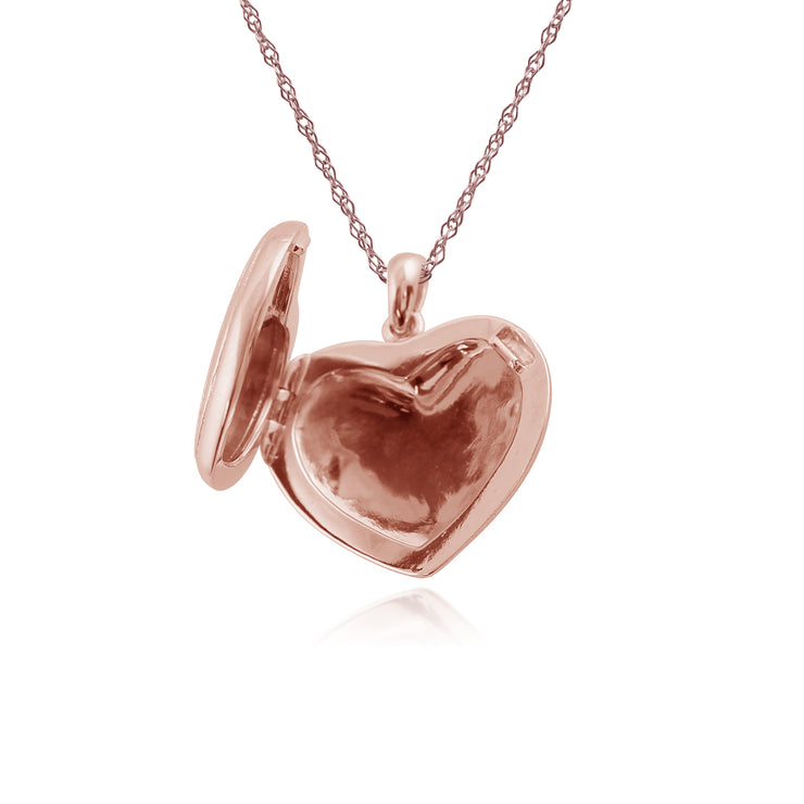 Classic Round Diamond Heart Shaped Locket in Rose Gold Plated Sterling Silver
