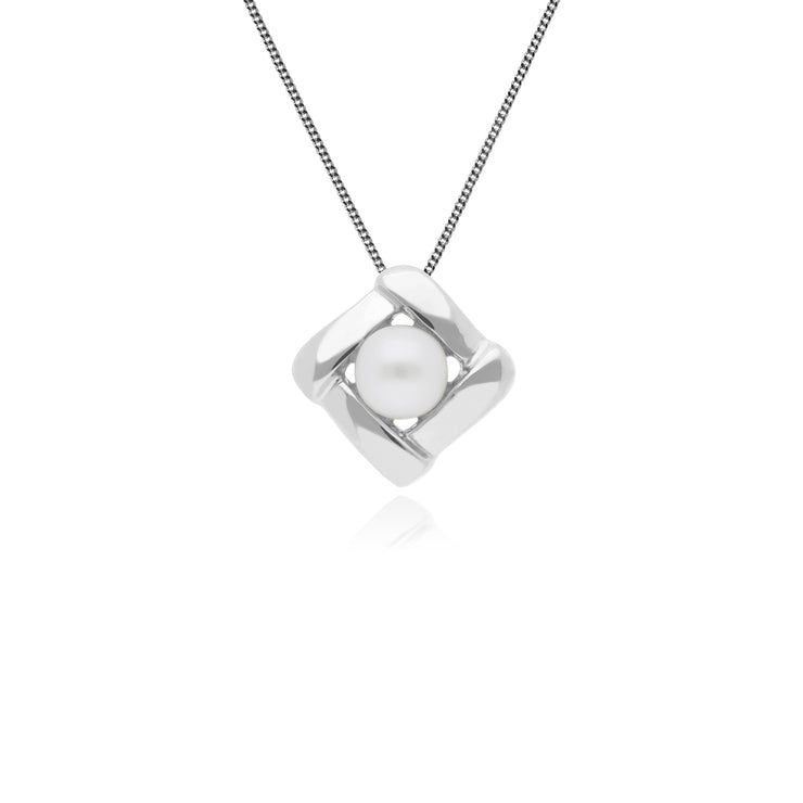 Essential Round Pearl Square Crossover Stud Earrings & Pendant Set in 925 Sterling Silver