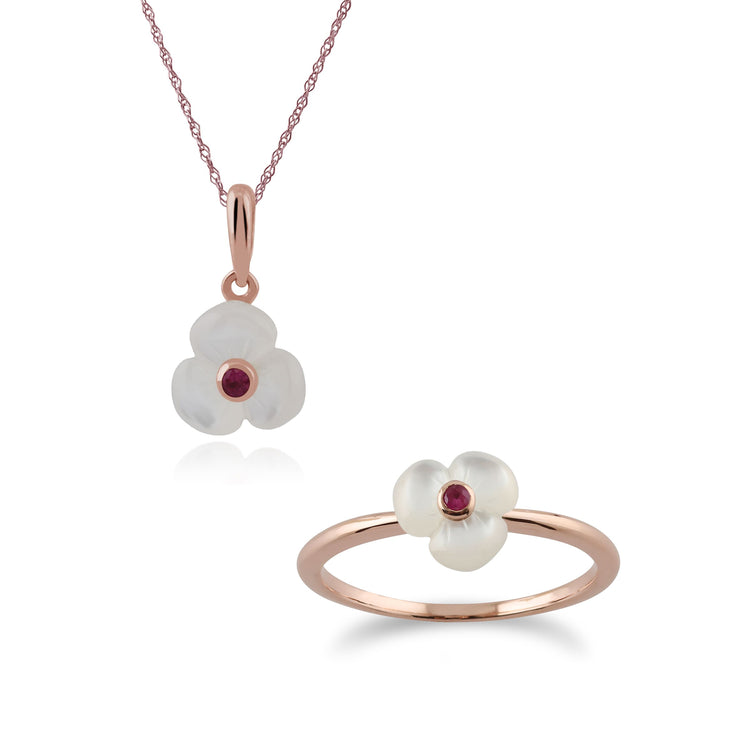 Floral Round Ruby & Mother of Pearl Poppy Pendant & Ring Set in Rose Gold Plated 925 Sterling Silver