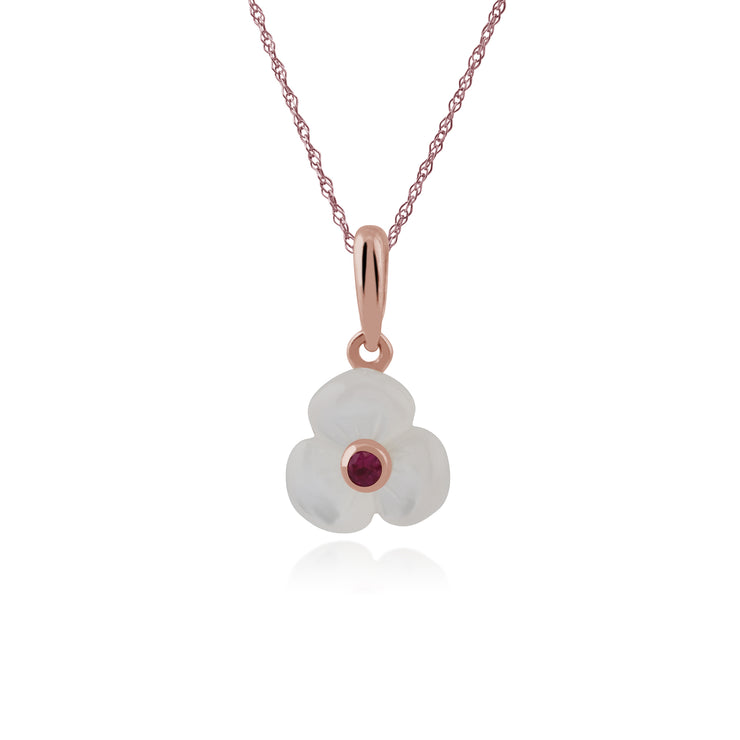 Floral Mother of Pearl & Round Ruby Poppy Pendant in Rose Gold Plated 925 Sterling Silver