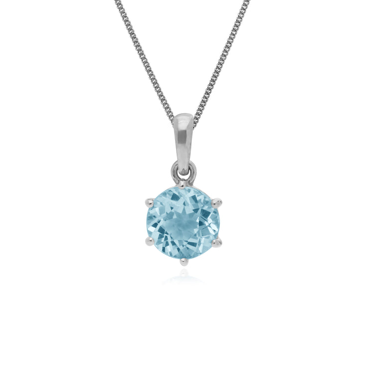 Classic Round Cut Blue Topaz 6 Claw Pendant in 925 Sterling Silver