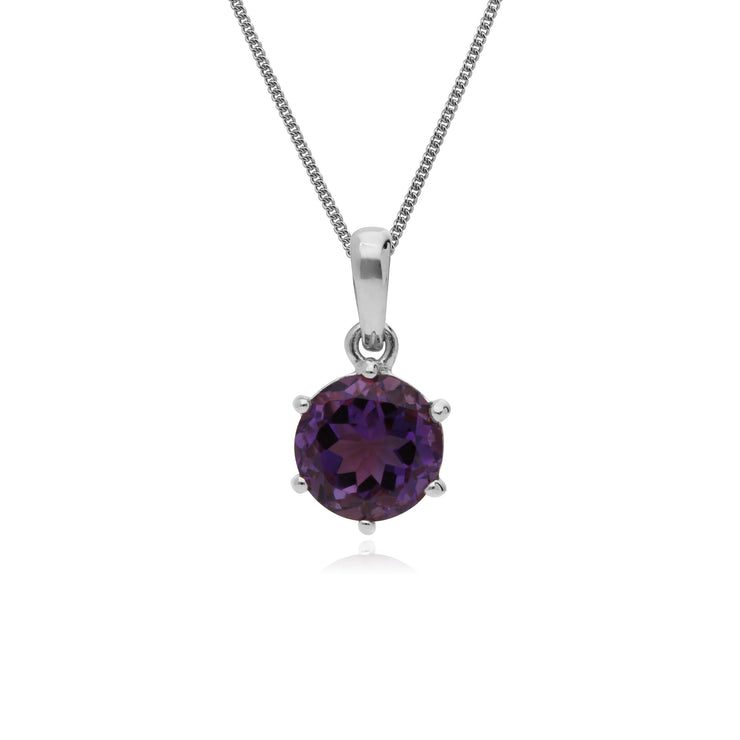 Classic Round Cut Amethyst 6 Claw Pendant in 925 Sterling Silver