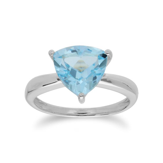 Geometric Trillion Blue Topaz Triangle Prism Ring in 925 Sterling Silver