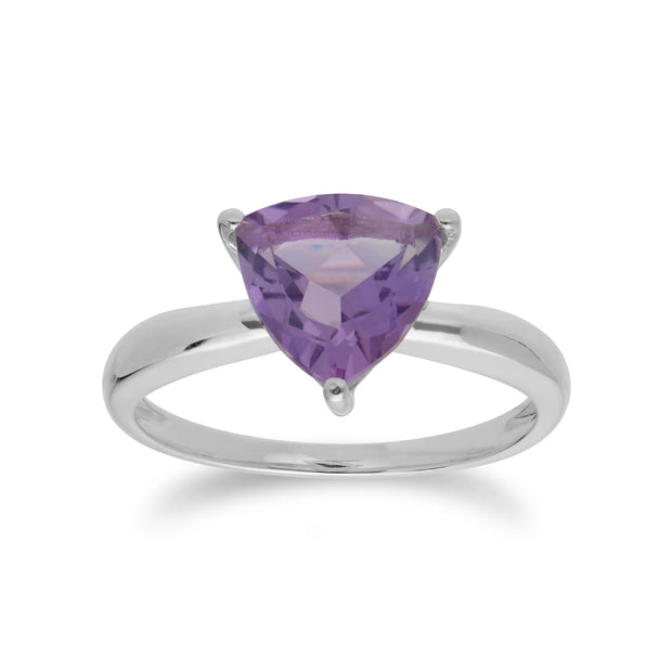 Geometric Trillion Amethyst Triangle Prism Ring in 925 Sterling Silver
