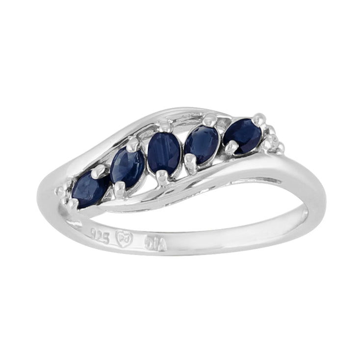 Contemporary Oval Sapphire Five Stone Leaf Style Ring in 925 Sterling Silver