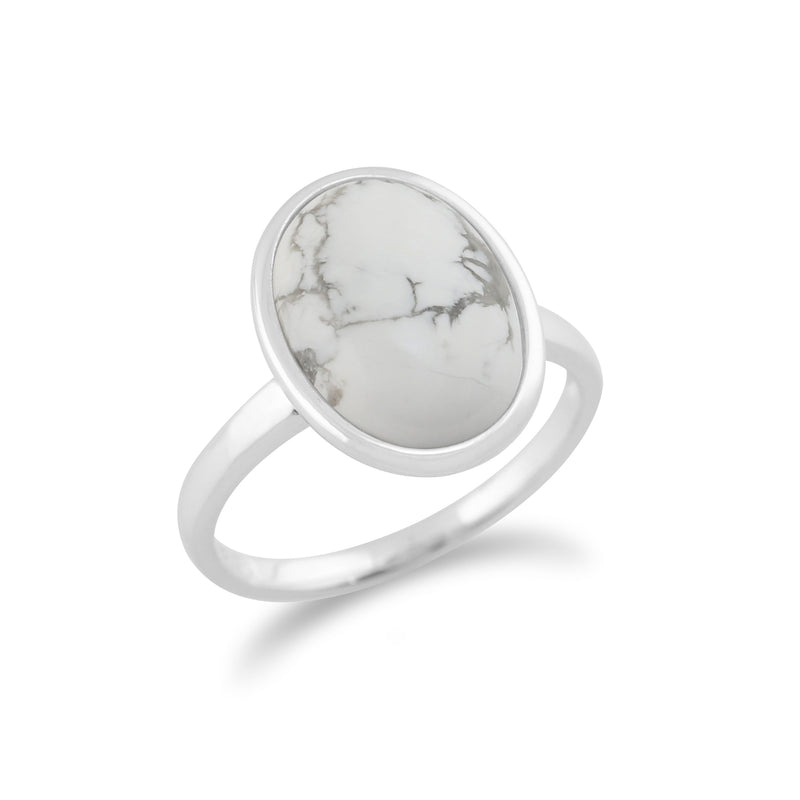 Classic Oval Magnesite Cabochon Boho Cocktail Ring in 925 Sterling Silver
