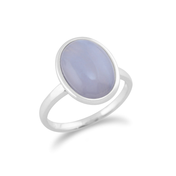Classic Oval Blue Lace Agate Bezel Set Cocktail Ring in 925 Sterling Silver