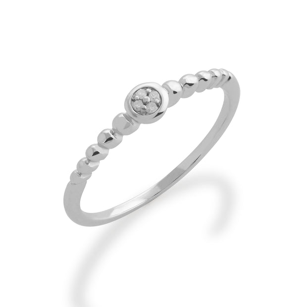 Essential Round Diamond Bezel Set Stack Ring in 925 Sterling Silver