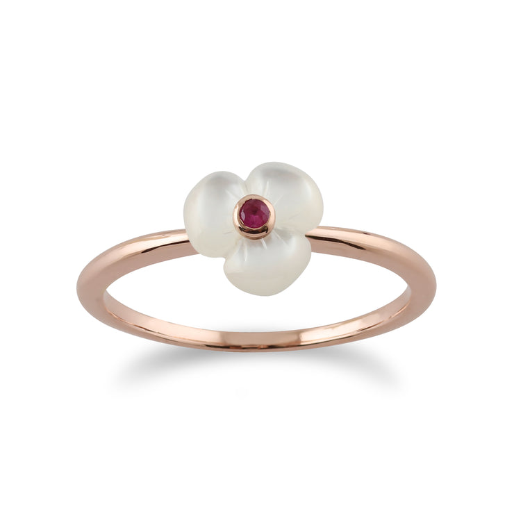 Floral Round Ruby & Mother of Pearl Poppy Stud Earrings & Ring Set in Rose Gold Plated 925 Sterling Silver