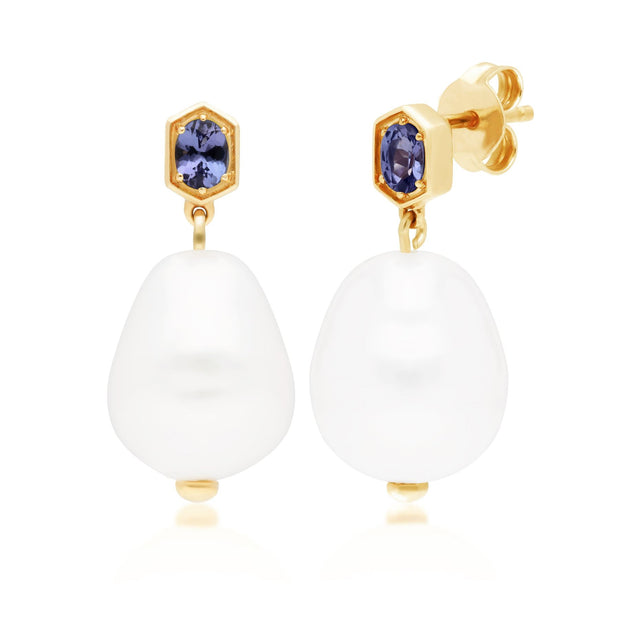 Modern Baroque Pearl & Tanzanite Drop Earrings in Gold Plated Sterling Silver