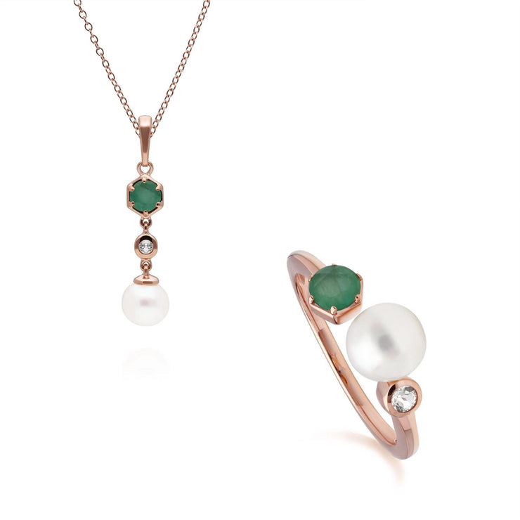 Modern Pearl, Emerald & Topaz Pendant & Ring Set in Rose Gold Plated Sterling Silver
