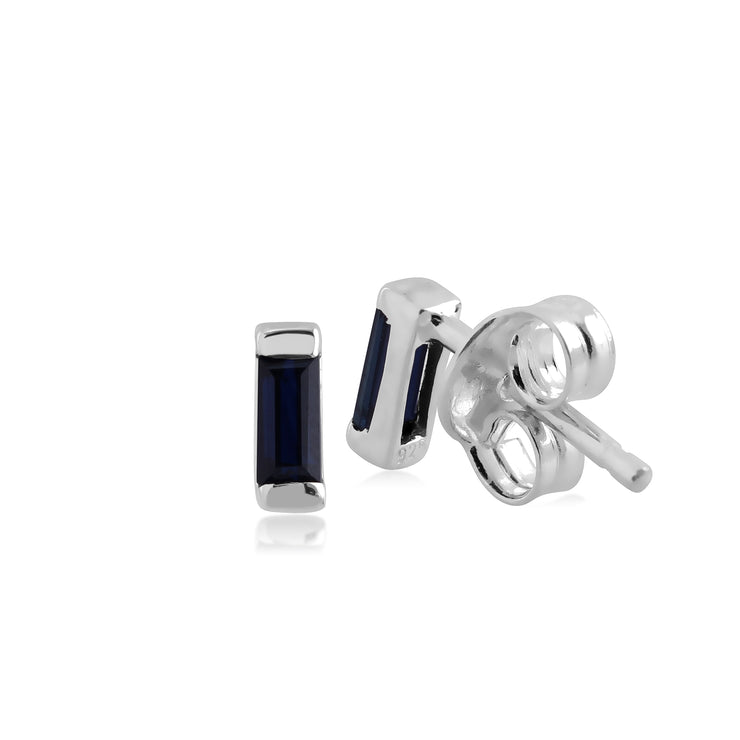 Classic Baguette Sapphire Stud Earrings in 925 Sterling Silver