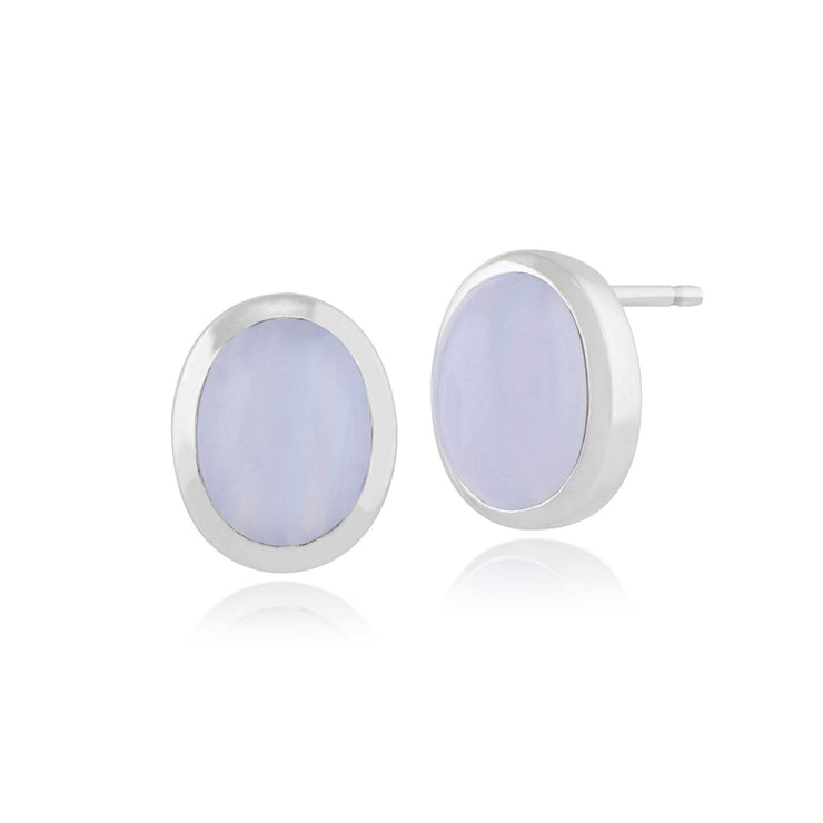 Classic Oval Blue Lace Agate Bezel Set Stud Earrings in 925 Sterling Silver