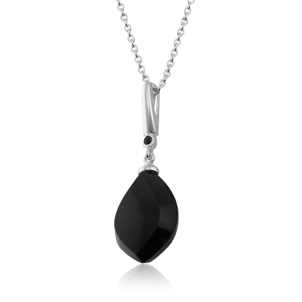 Art Deco Style Black Onyx Cabochon & Black Spinel Pendant in Sterling Silver