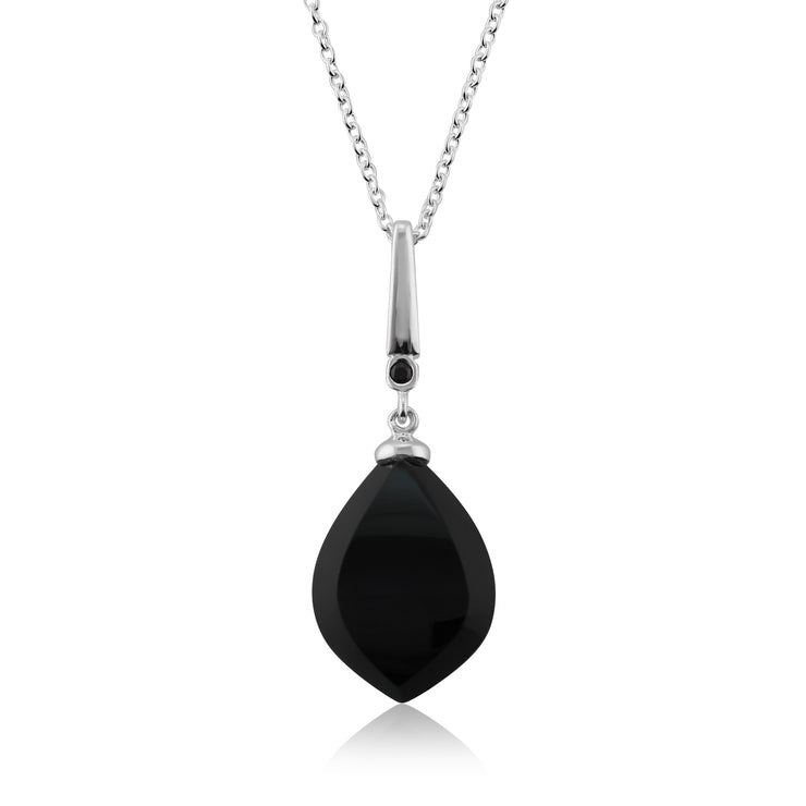 Art Deco Style Black Onyx Cabochon & Black Spinel Pendant in 925 Sterling Silver