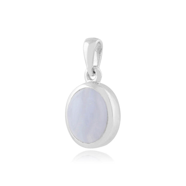 Classic Oval Blue Lace Agate Bezel Set Pendant in 925 Sterling Silver