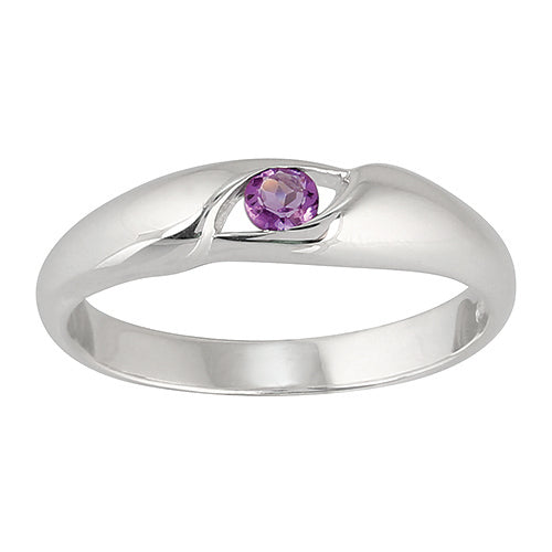 Classic Oval Amethyst Ring in 925 Sterling Silver