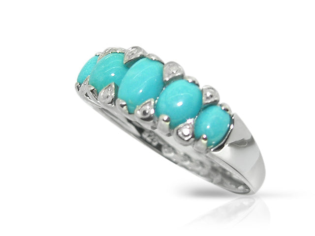 Art Deco Style Oval Turquoise Cabochon Five Stone Ring in 925 Sterling Silver