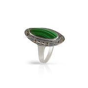 Art Deco Style Oval Malachite Cabochon Cocktail Ring in 925 Sterling Silver