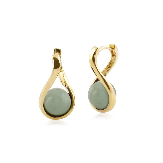 Kosmos Round Ball Shaped Dyed Green Jade Earrings in Yellow Gold Plated Sterling Silver