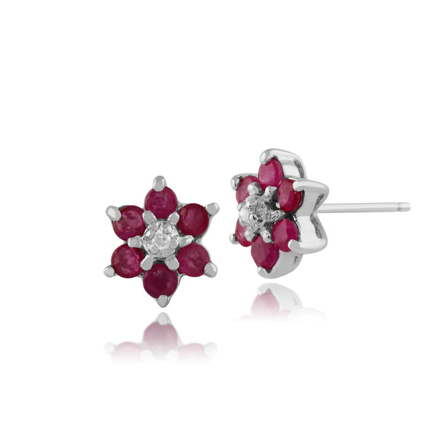 Floral Round Ruby & Diamond Cluster Stud Earrings in 9ct White Gold