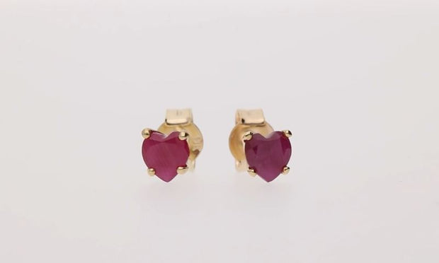 Classic Heart Ruby Stud Earrings in 9ct Yellow Gold 4mm