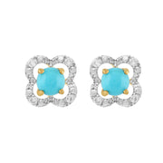 Classic Turquoise Stud Earrings & Diamond Floral Ear Jacket Image 1