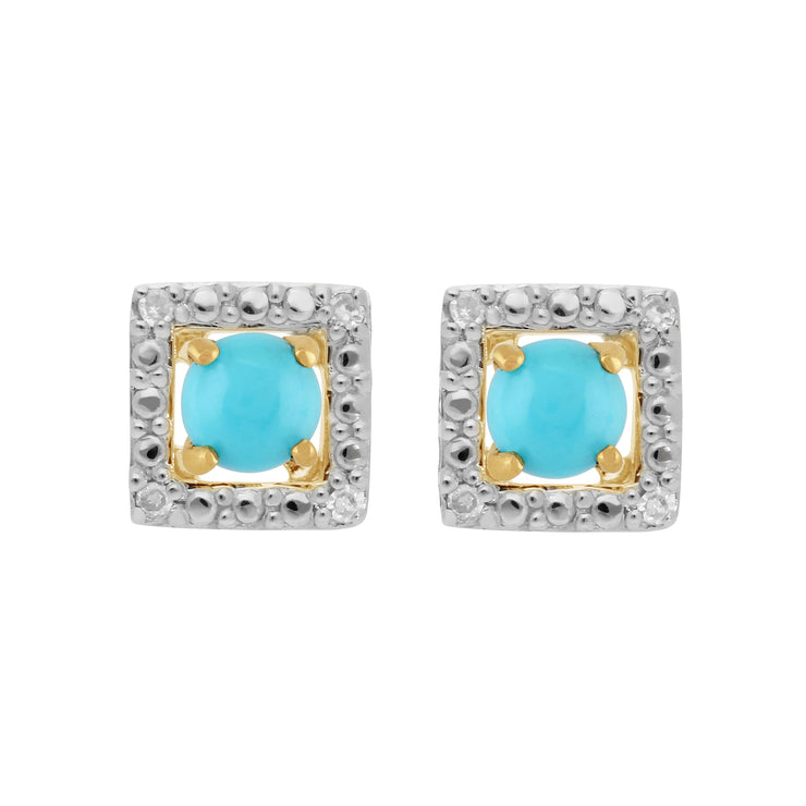 Classic Turquoise Stud Earrings & Diamond Square Earring Jacket Set Image 1