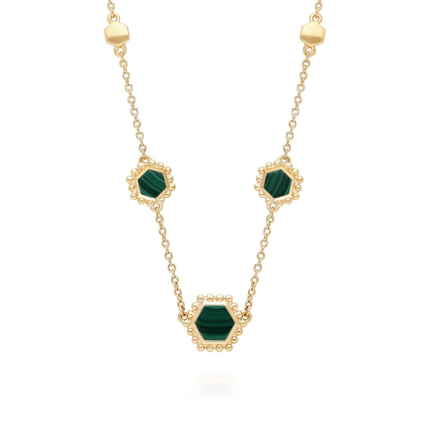 Malachite Flat Slice Hex Chain Necklace in Gold Plated Sterling Silver