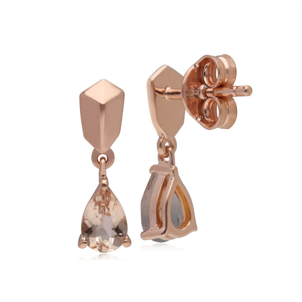 Micro Statement Morganite Earrings in Rose Gold Plated 925 Sterling Silver
