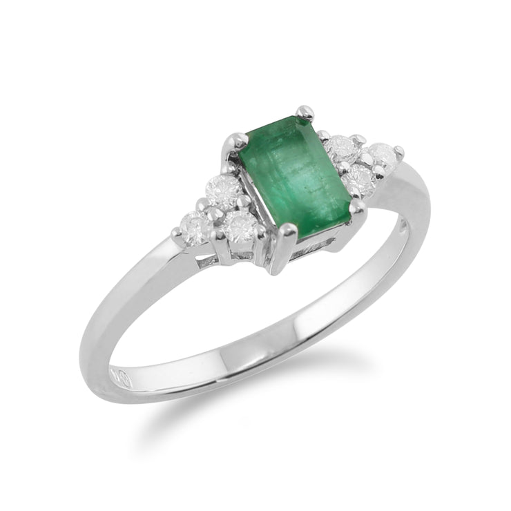 Classic Baguette Emerald & Diamond Ring in 9ct White Gold