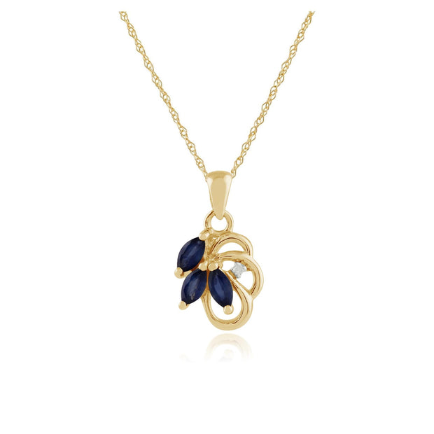 Floral Marquise Sapphire & Diamond Pendant in 9ct Yellow Gold