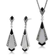 Art Deco Fan Drop Earrings & Necklace Set Image 1