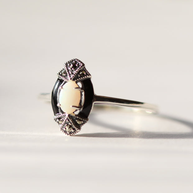 Art Deco Style Oval Opal, Marcasite & Black Enamel Marquise Ring In Sterling Silver